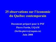 25 observations sur l'économie du Québec contemporain
