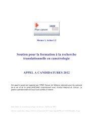 Soutien pour la formation à la recherche translationnelle en ...
