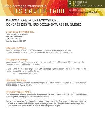 Informations pour l'exposition - Congrès des milieux documentaires