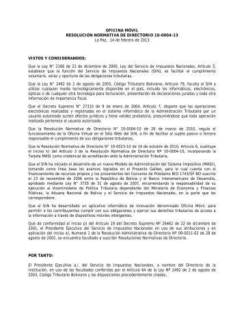 OFICINA MÓVIL RESOLUCIÓN NORMATIVA DE DIRECTORIO 10 ...