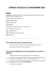CONSEIL D'ECOLE DU 15 NOVEMBRE 2012 - Mairie de Clapiers