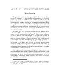 Les minorites entre la nostalgie et l'universel - Langues d'Europe et ...