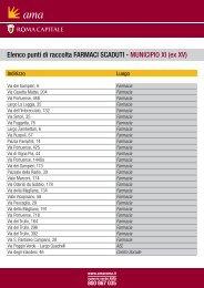 Elenco punti di raccolta FARMACI SCADUTI - MUNICIPIO XI ... - Ama
