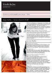 Stages théâtre - Le Jeu à travers la TCIC - Ecole du jeu