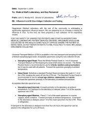 "Testing for Novel H1N1 (""Swine"") Influenza - Meritus Health"