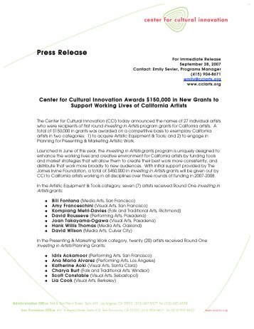 Round One Press Release - Center for Cultural Innovation