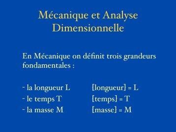 Mécanique et Analyse Dimensionnelle