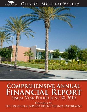 2010 Comprehensive Annual Financial Report - Moreno Valley