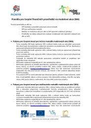 Pravidla pro čerpání finančních prostředků na modelové akce (MA)