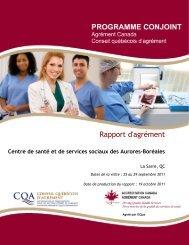 Rapport d'agrément - Centre de santé et de services sociaux des ...