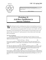 Workshop 16 Acid-Base Equilibrium in Aqueous Solutions