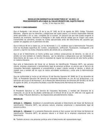 RESOLUCIÓN NORMATIVA DE DIRECTORIO N° 10-0021-13 ...