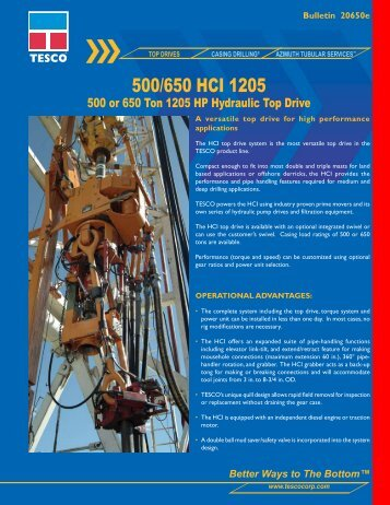 500/650 HCI 1205 - TESCO Corporation