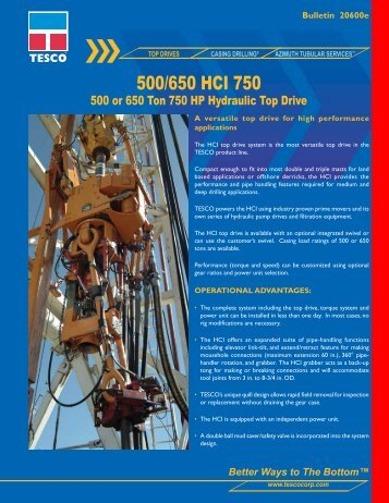 500/650 HCI 750 - TESCO Corporation