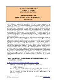 « EDUCATION ET PROJET DE TERRITOIRE » - CRPV-PACA
