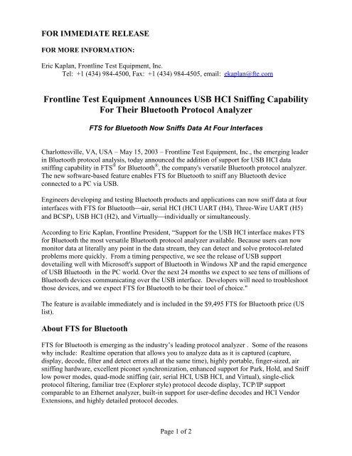 Frontline Test Equipment Announces USB HCI Sniffing