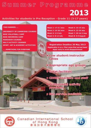 2013 Summer Holiday Programme - Canadian International School ...