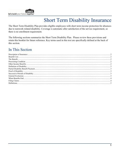 Lowes Employee Benefits >> Short Term Disability Plan My Lowe S Life