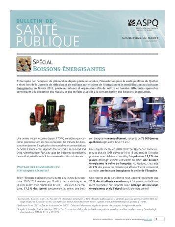 Boissons énergisantes - Association pour la santé publique du ...