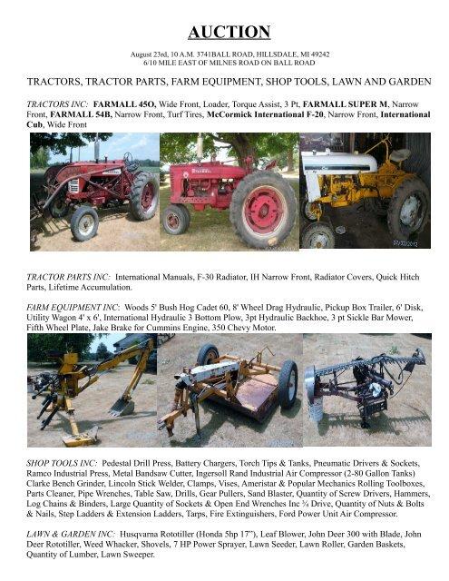 tractors, tractor parts, farm equipment, shop tools