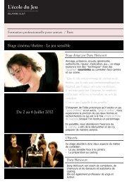 Stage cinéma/théâtre - Le jeu sensible Du 2 au 6 ... - Ecole du jeu