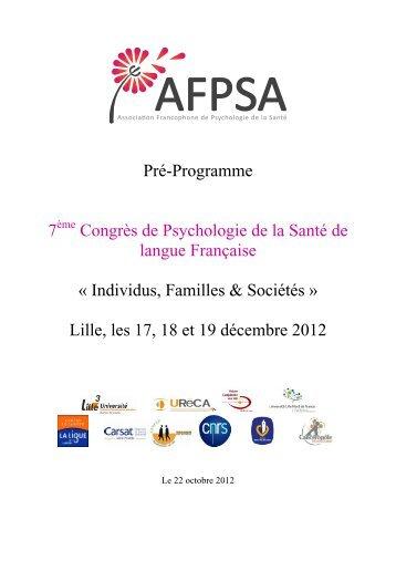 Pré-Programme 7 Congrès de Psychologie de la Santé de ... - Lille 3