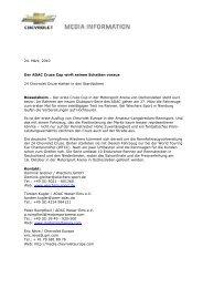24. März, 2010 Der ADAC Cruze Cup wirft seinen Schatten voraus ...