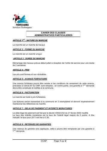 CCAP Page 1 sur 2 Services Techniques CAHIER DES CLAUSES ...