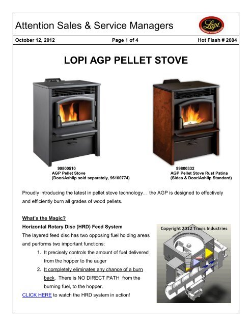 Attention Sales Service Managers Lopi Agp Pellet Stove
