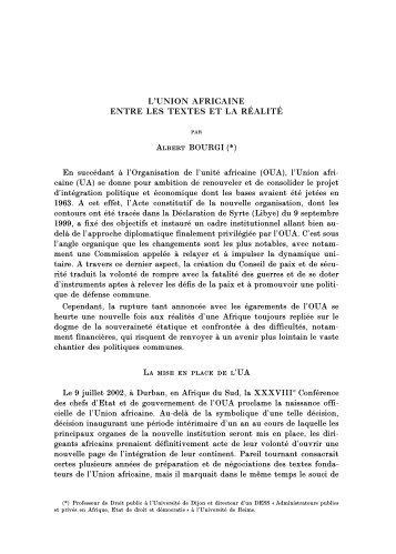 L'UNION AFRICAINE ENTRE LES TEXTES ET LA RÉALITÉ Albert ...