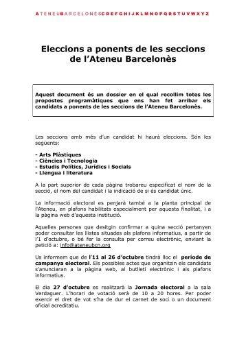 Dossier Electoral dels Candidats - Ateneu Barcelonès