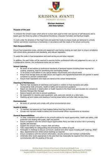 JD617 Food Service Delivery/Kitchen Assistant Job Description