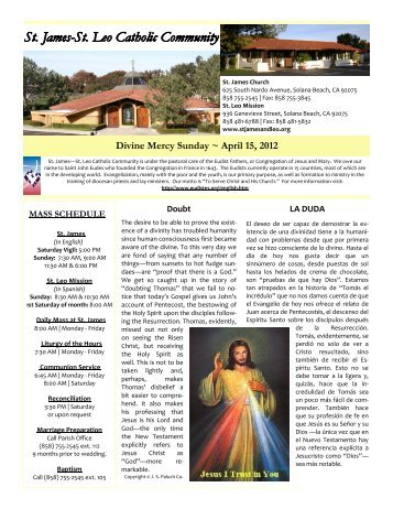 April 15, 2012 - St. James and St. Leo Catholic Community