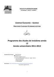 Programme des études de troisième année L3 Année universitaire ...