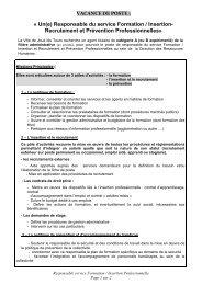 Responsable du service formation / insertion professionnelle