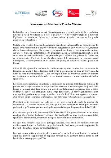 LEttre ouverte au Premier Ministre - Réseau Français des Villes ...