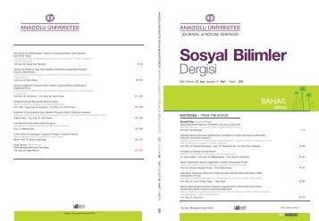 From the Editor... - Anadolu Üniversitesi Sosyal Bilimler Dergisi