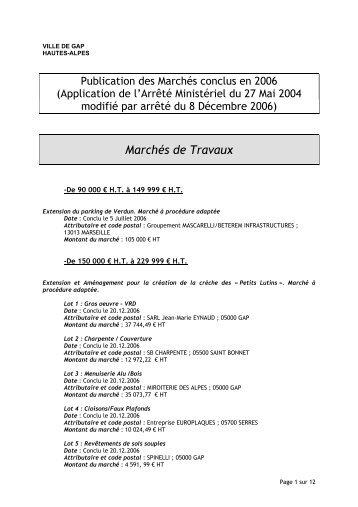 Attributaire et code postal : Société SOMAREV - Ville de Gap