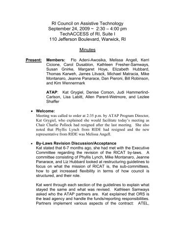 RI Council on Assistive Technology September 24, 2009 ~ 2:30 – 4 ...