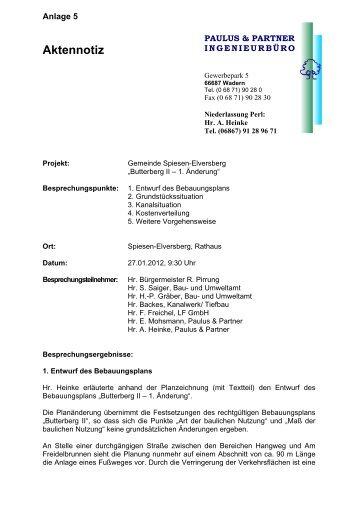 Aktennotiz - Gemeinde Spiesen-Elversberg