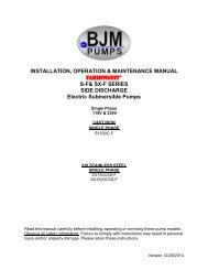 SF-Series Single Phase Operational Manual - BJM Pumps