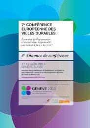 7e Conférence européenne des Villes durables - Association des ...