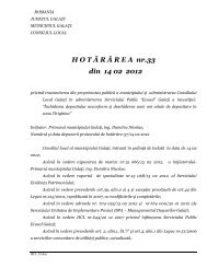 H O T Ă R Â R E A  nr.33 din 14 02 2012 - Primaria Municipiului Galati