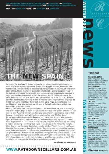 THE NEW SPAIN - Rathdowne Cellars