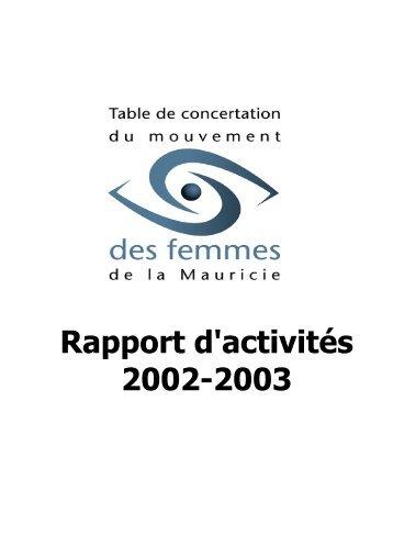 Rapport d'activité 2002-2003 - Table de concertation du mouvement ...