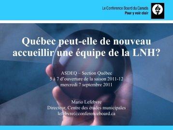 Québec peut-elle de nouveau accueillir une équipe de la LNH?