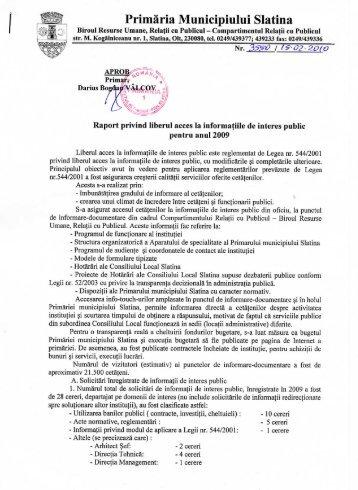 Acces informaţii de interes public 2009 - Primăria Municipiului Slatina