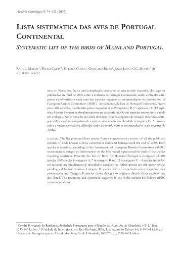 lista sistemática das aves de portugal continental - spea