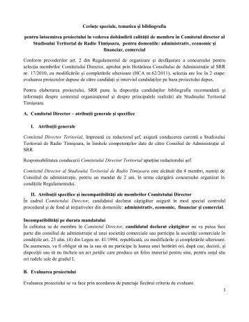 1 membru- în domeniul Administrativ, Economic şi ... - Radio România