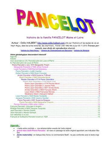 Voir mon étude de la famille Pancelot - histoire du Haut-Anjou